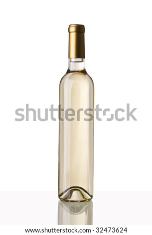 A long and thin bottle of white wine isolated on white. It has a clipping path. - stock photo