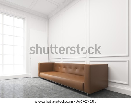 A long brown sofa standing at the white wall, three elements of wall decor in shape of rectangles over it. Light from the window to the left. Side view. Concept of interior design. 3D rendering - stock photo