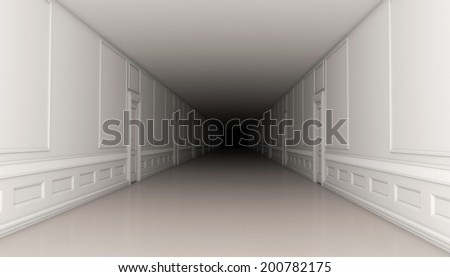 A long corridor running into the darkness, 3d render
