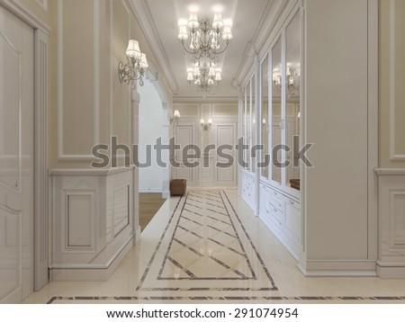 Long corridor wardrobe mirrors classic style stock illustration