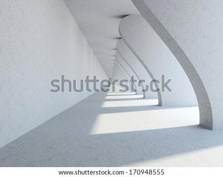 A long corridor with big columns - stock photo
