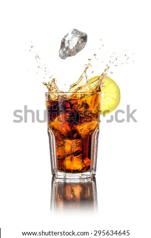 A long drink with ice cubes and splash - stock photo