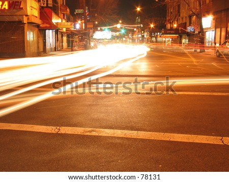 A Long Exposure of a fork in the road in New York City - stock photo