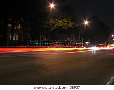 a long exposure of a street in nyc - stock photo