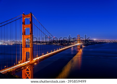 A long exposure of the San Francisco City skyline and Golden Gate Bridge, after sunset, dusk, twilight; photographed from the Battery Spencer, near the Marin Headlands Park. - stock photo