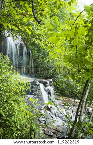 A long exposure of the upper Isaqueen Falls near Walhalla in the South Carolina Upcountry. - stock photo