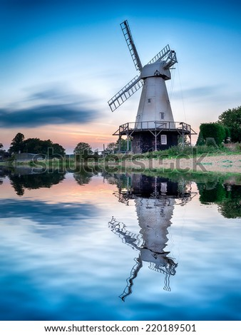 A long exposure of Woodchurch Windmill in the Kent countryside - stock photo