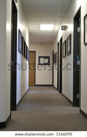 A long office hallway - stock photo