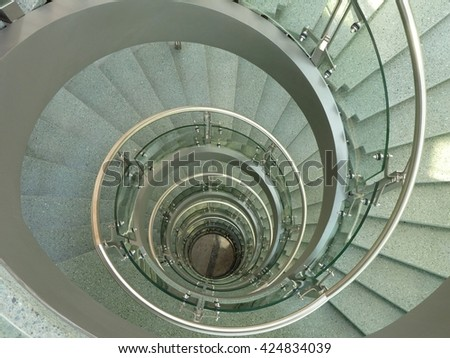 a long staircase in a high building
