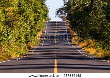 A long two lane rural road running through a colorful vibrant tr - stock photo