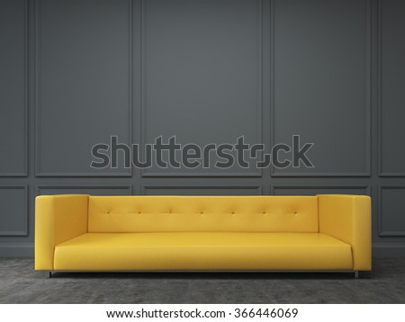 A long yellow sofa standing at the black wall, three elements of wall decor in shape of rectangles over it. Front view. Concept of interior design. 3D rendering - stock photo