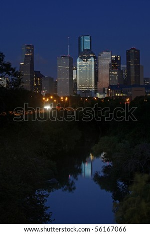 A look at the bayou city at nightfall - Houston, Texas - stock photo