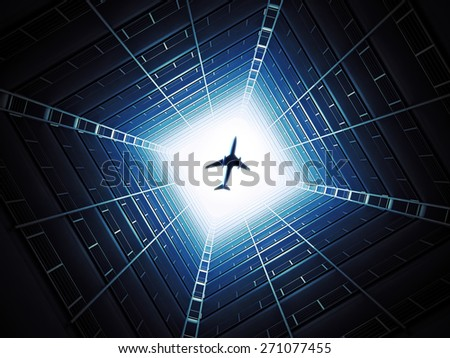 A look at the bright sky from inside an apartment building - stock photo
