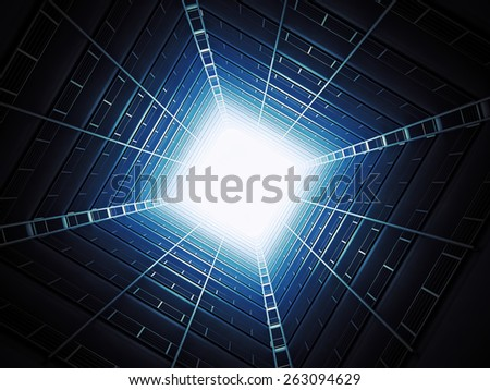 A look at the brught sky from inside an apartment building - stock photo