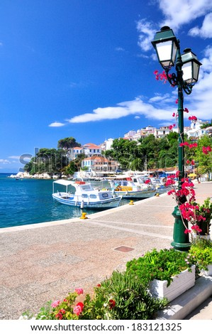 A look on the old port in Skiathos, Greece, Europe - stock photo