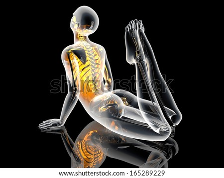 A lookalike of the King Cobra Yoga pose. 3D illustration. - stock photo