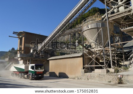 A lorry loading gravel at a quarry in Kinzigtal, Schwarzwald - Black Forest, Germany - stock photo