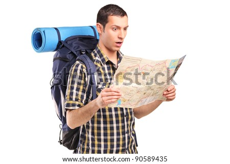 A lost hiker looking at map isolated on white background