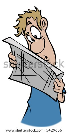A lost man trying to read a map. - stock photo