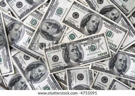A lot 100 dollar bills background - stock photo