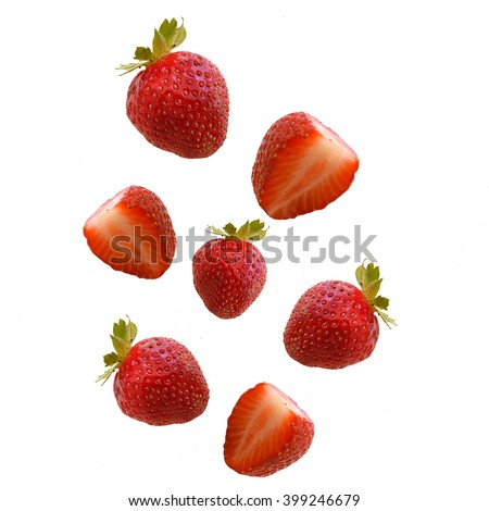 A lot of a falling strawberry - stock photo
