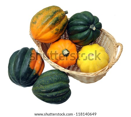 a lot of acorn squash in bamboo basket - stock photo