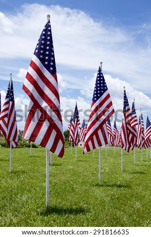 A lot of american flags. Memorial Day, Independence Day and Veterans Day celebration in USA - stock photo