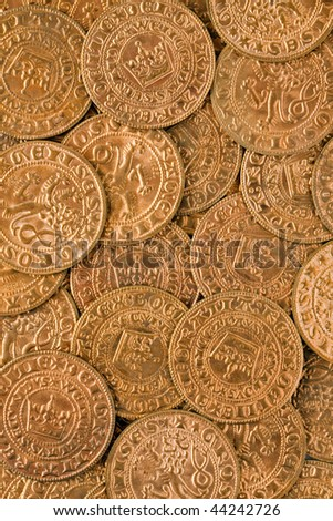 a lot of antique gold coins - stock photo