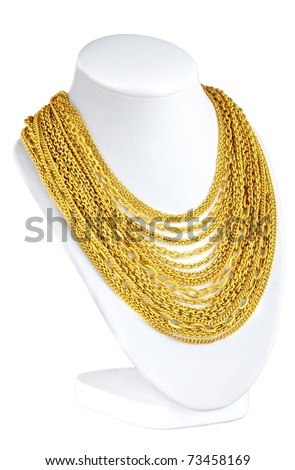 a lot of attractive gold necklace for you to choose - stock photo