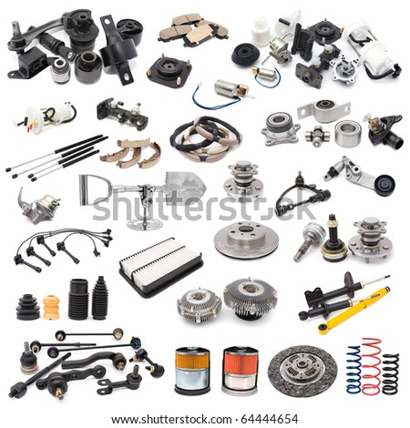 a lot of auto spare parts, over white - stock photo