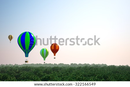 A lot of balloons flight over forest