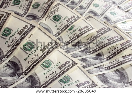 a lot of 100 banknotes located in fan mode as background - stock photo