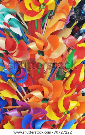 A lot of beautiful colored pinwheels - stock photo