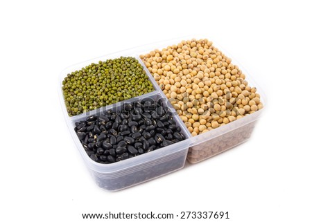 a lot of black bean, green beans, soybean on white background - stock photo