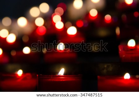a lot of candles in the church - stock photo