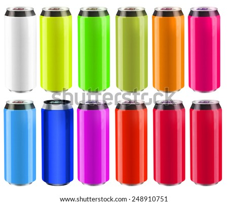 a lot of cans of different colors as a catalog clipping path - stock photo