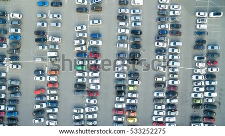 A lot of cars in the parking lot