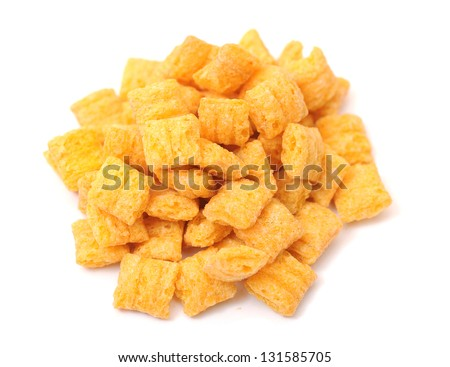 a lot of cereal on white background