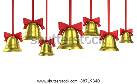 A lot of Christmas bells with red ribbons isolated on white background - stock photo