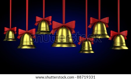 A lot of Christmas bells with red ribbons on a blue gradient background - stock photo