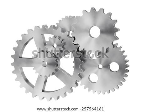 A lot of chrome gears. - stock photo