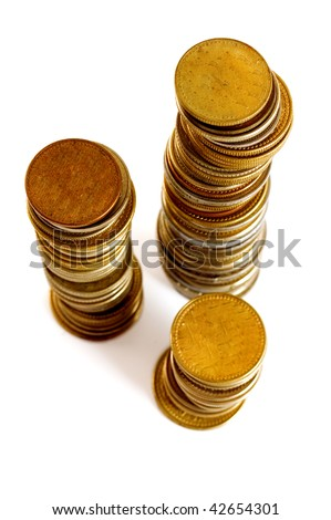 A lot of coins at colors of gold - stock photo