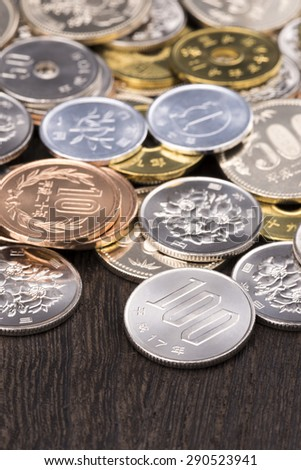 A lot of coins, currency of Japan - stock photo