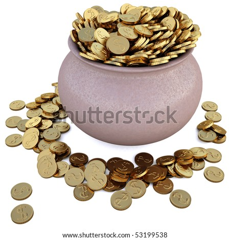 a lot of coins in the pot. with clipping path. - stock photo