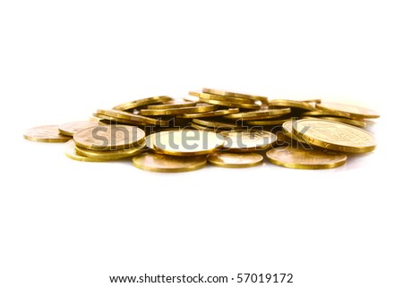 A lot of coins isolated on white - stock photo