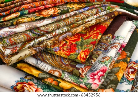 A lot of color textile shawles - stock photo
