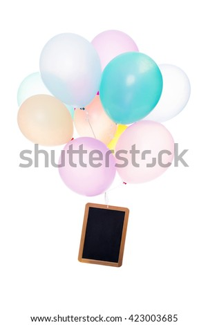 a lot of colorful Balloons, slate with copyspace, isolated on white - stock photo