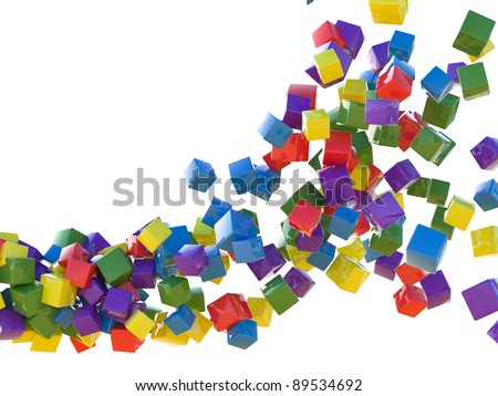 A lot of colorful cubes are flying on a white background