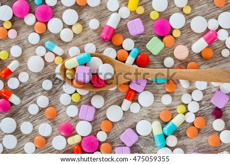 A lot of colorful medication and pills from above