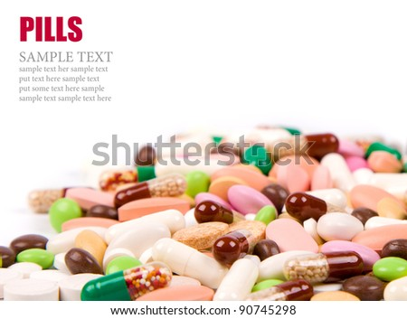 a lot of colorful pills background - stock photo